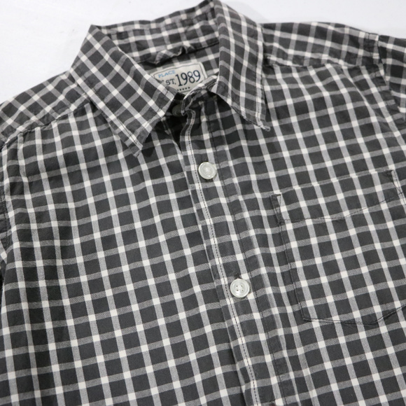 Children's Place Other - Gray Checkered Long Sleeve Button up 7/8 Boys
